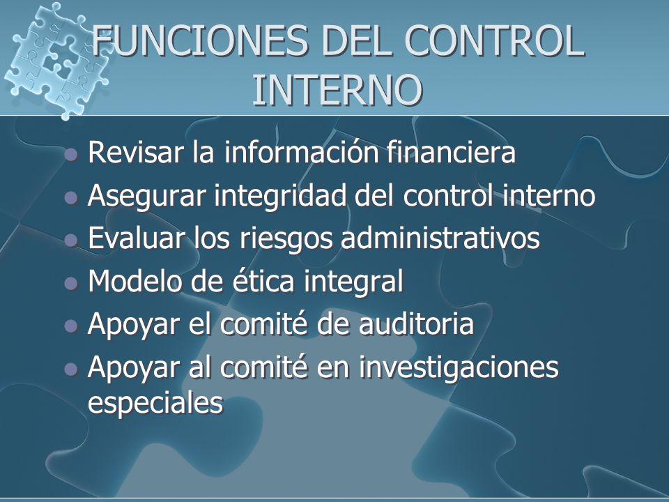 FUNCIONES DEL CONTROL INTERNO Revisar la información financiera Asegurar integridad del control interno Evaluar los riesgos administrativos Modelo de