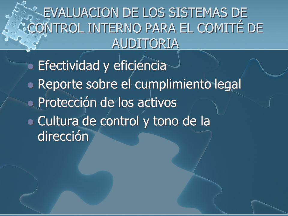 EVALUACION DE LOS SISTEMAS DE CONTROL INTERNO PARA EL COMITÉ DE AUDITORIA Efectividad y eficiencia Reporte sobre el cumplimiento legal Protección de l