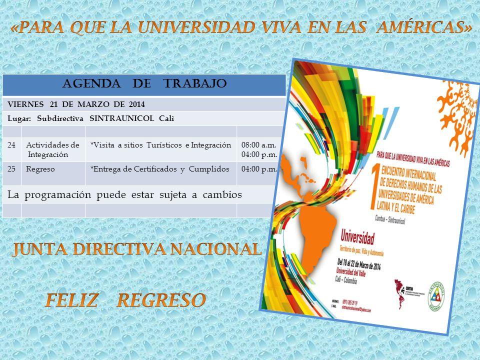 AGENDA DE TRABAJO VIERNES 21 DE MARZO DE 2014 Lugar: Subdirectiva SINTRAUNICOL Cali 24Actividades de Integración *Visita a sitios Turísticos e Integra