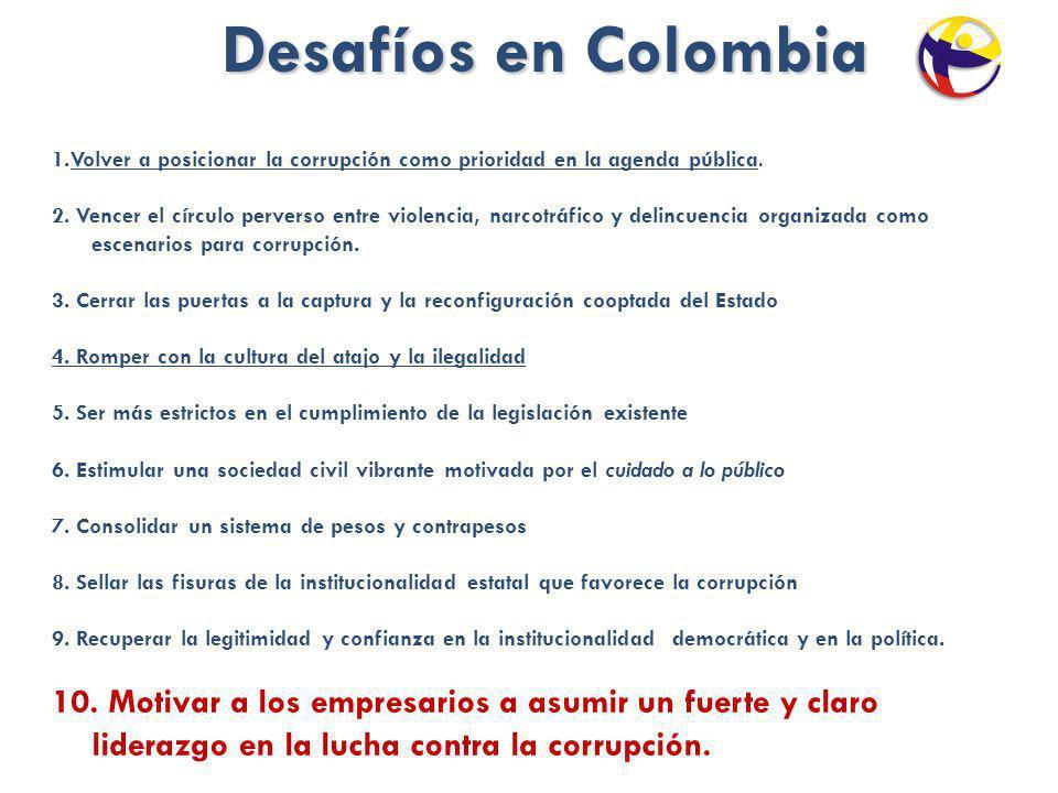 Desafíos en Colombia Desafíos en Colombia 1.Volver a posicionar la corrupción como prioridad en la agenda pública. 2. Vencer el círculo perverso entre