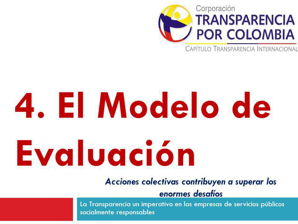 La Transparencia un imperativo en las empresas de servicios públicos socialmente responsables 4. El Modelo de Evaluación Acciones colectivas contribuy