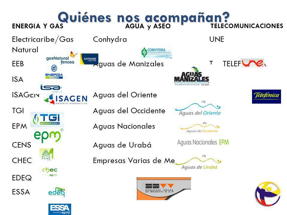 Quiénes nos acompañan? ENERGIA Y GASAGUA y ASEO TELECOMUNICACIONES Electricaribe/Gas Natural ConhydraUNE EEBAguas de ManizalesT TELEFONICA ISA ISAGENA