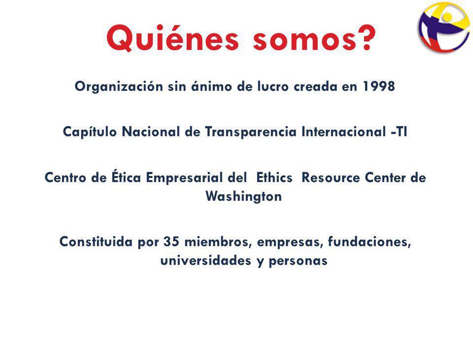 Quiénes somos? Organización sin ánimo de lucro creada en 1998 Capítulo Nacional de Transparencia Internacional -TI Centro de Ética Empresarial del Eth