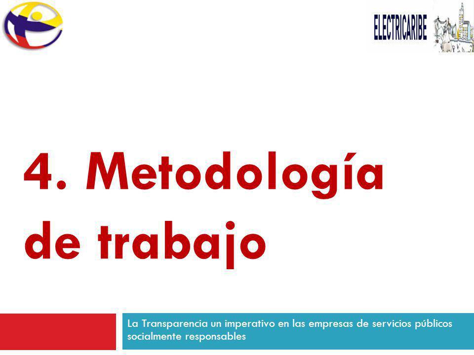 La Transparencia un imperativo en las empresas de servicios públicos socialmente responsables 4. Metodología de trabajo