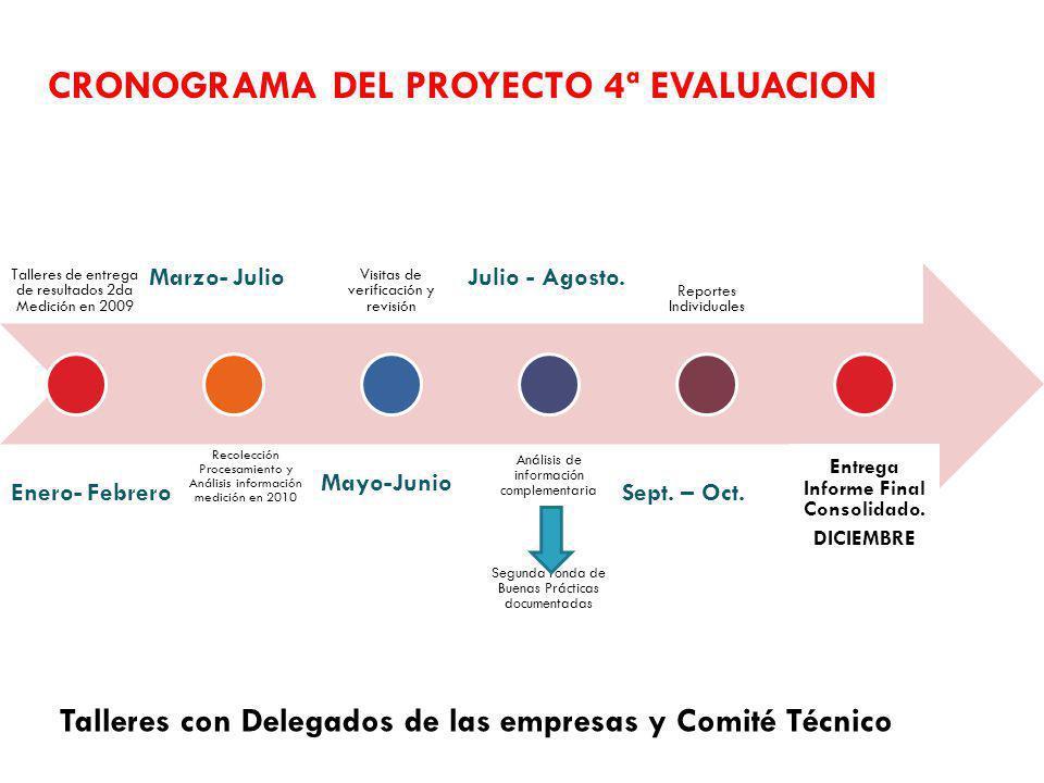 CRONOGRAMA DEL PROYECTO 4ª EVALUACION Talleres de entrega de resultados 2da Medición en 2009 Recolección Procesamiento y Análisis información medición