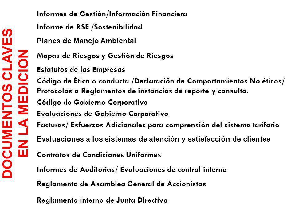 DOCUMENTOS CLAVES EN LA MEDICION Informes de Gestión/Información Financiera Informe de RSE /Sostenibilidad Planes de Manejo Ambiental Mapas de Riesgos y Gestión de Riesgos Estatutos de las Empresas Código de Ética o conducta /Declaración de Comportamientos No éticos/ Protocolos o Reglamentos de instancias de reporte y consulta.