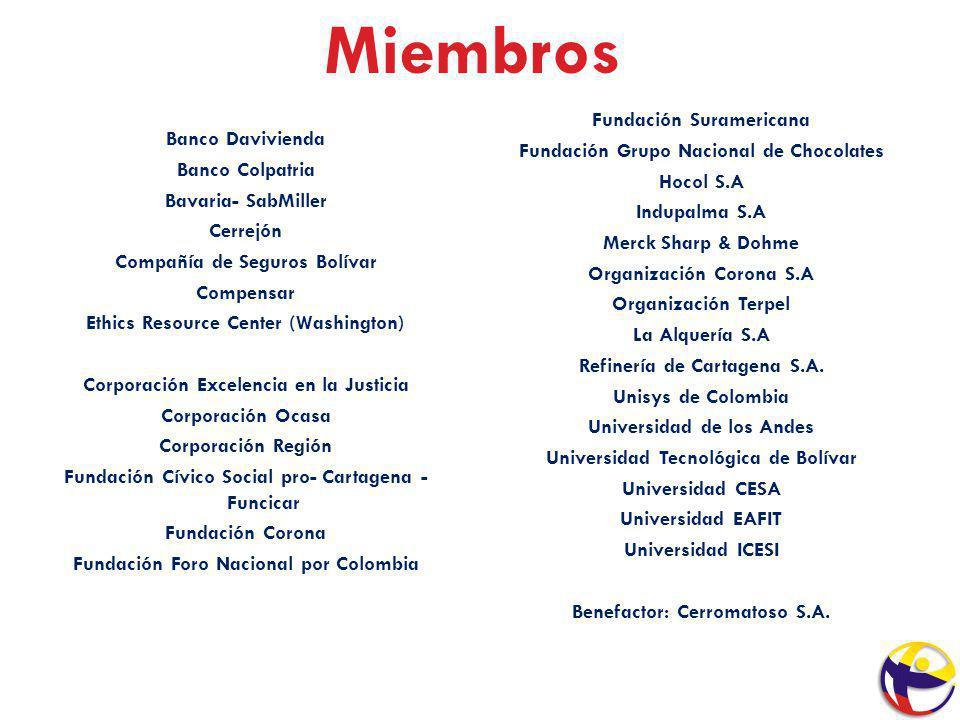 Miembros Banco Davivienda Banco Colpatria Bavaria- SabMiller Cerrejón Compañía de Seguros Bolívar Compensar Ethics Resource Center (Washington) Corpor