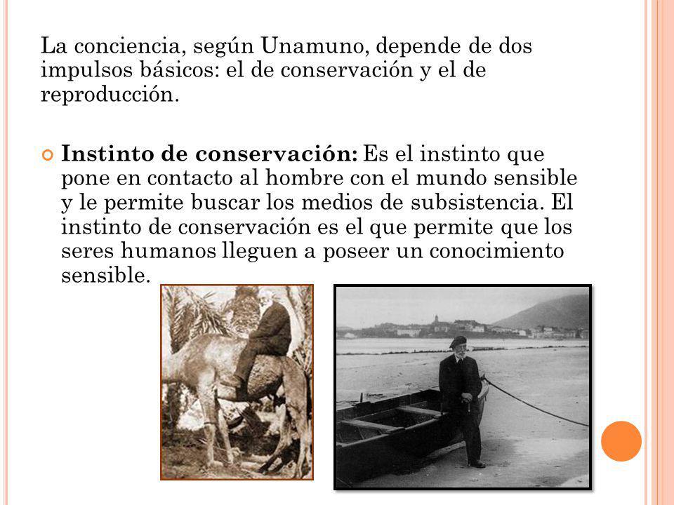 La conciencia, según Unamuno, depende de dos impulsos básicos: el de conservación y el de reproducción. Instinto de conservación: Es el instinto que p