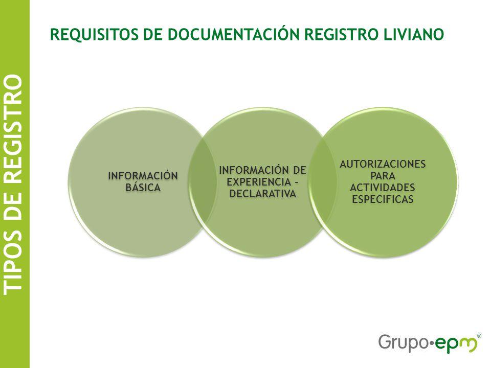 TIPOS DE REGISTRO SISTEMA DE INFORMACIÓN DE CONTRATISTAS EPM REQUISITOS DE DOCUMENTACIÓN REGISTRO LIVIANO INFORMACIÓN BÁSICA INFORMACIÓN DE EXPERIENCIA - DECLARATIVA AUTORIZACIONES PARA ACTIVIDADES ESPECIFICAS