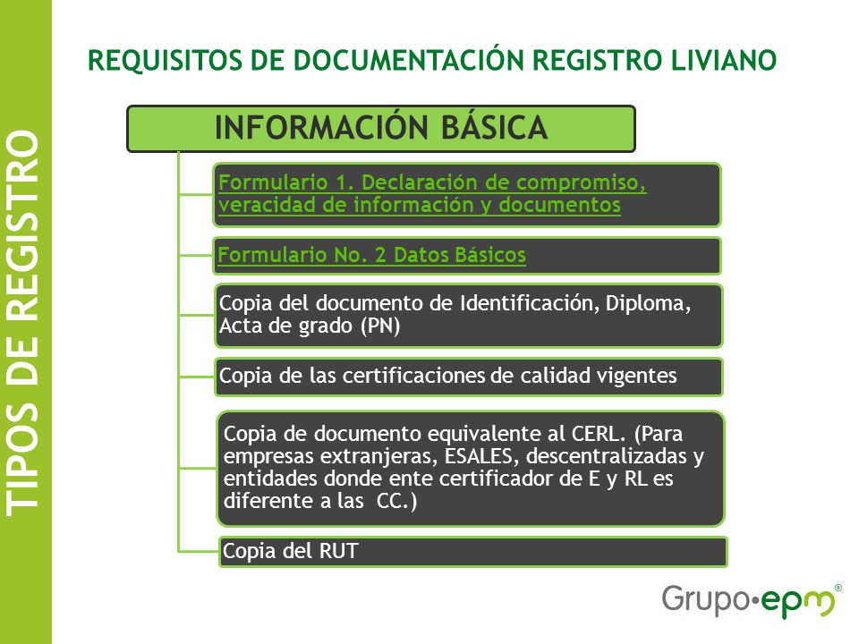 TIPOS DE REGISTRO SISTEMA DE INFORMACIÓN DE CONTRATISTAS EPM REQUISITOS DE DOCUMENTACIÓN REGISTRO LIVIANO INFORMACIÓN BÁSICA Formulario 1.