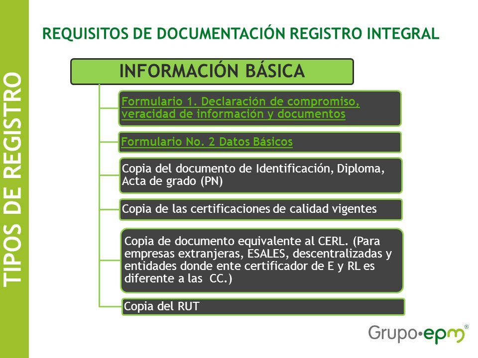 TIPOS DE REGISTRO SISTEMA DE INFORMACIÓN DE CONTRATISTAS EPM REQUISITOS DE DOCUMENTACIÓN REGISTRO INTEGRAL INFORMACIÓN BÁSICA Formulario 1.