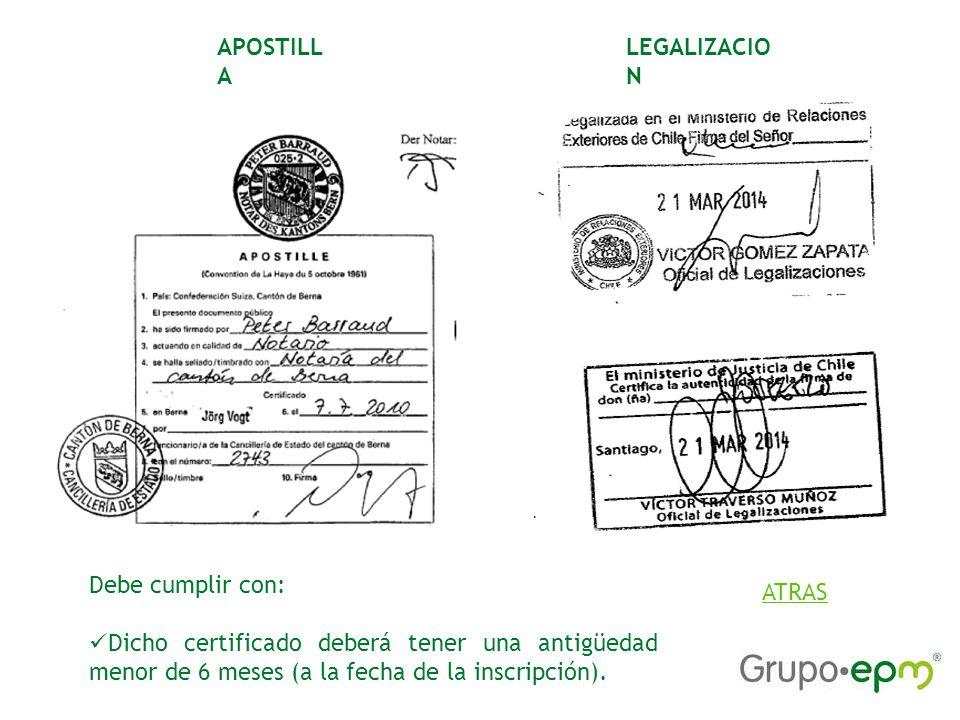 LEGALIZACIO N APOSTILL A Debe cumplir con: Dicho certificado deberá tener una antigüedad menor de 6 meses (a la fecha de la inscripción).