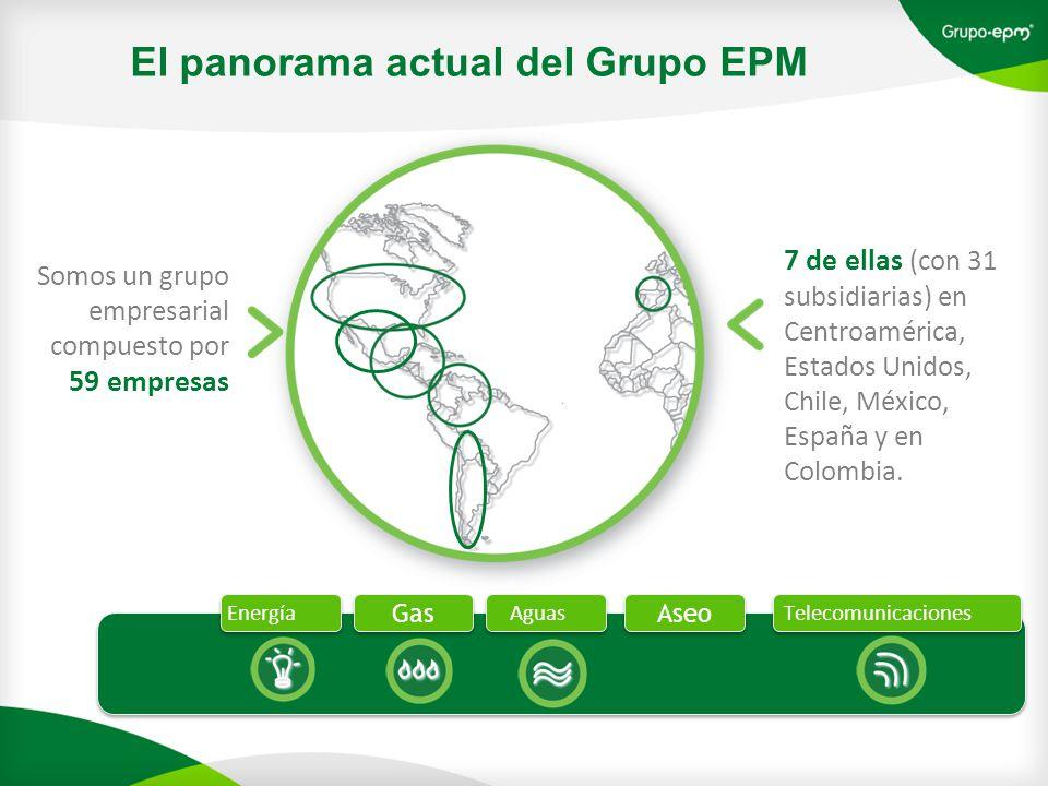 El panorama actual del Grupo EPM Somos un grupo empresarial compuesto por 59 empresas 7 de ellas (con 31 subsidiarias) en Centroamérica, Estados Unidos, Chile, México, España y en Colombia.