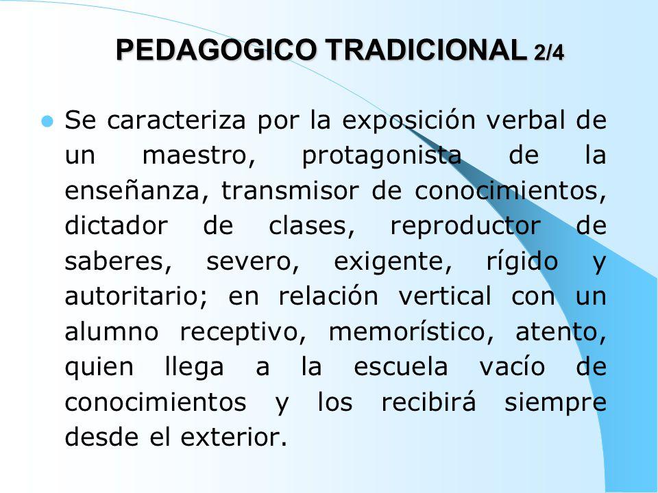 PEDAGOGICO TRADICIONAL 3/4 En este modelo prima el proceso de enseñanza sobre el proceso de aprendizaje, la labor del profesor sobre la del estudiante; los medios son el tablero, marcador o tiza y la voz del profesor; además la evaluación es memorística y cuantitativa