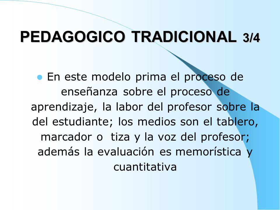 PEDAGOGICO TRADICIONAL 4/4 La evaluación se realiza generalmente al final del periodo, para evidenciar si el aprendizaje se produjo y decidir si el estudiante es promovido al siguiente nivel o debe repetir el curso.