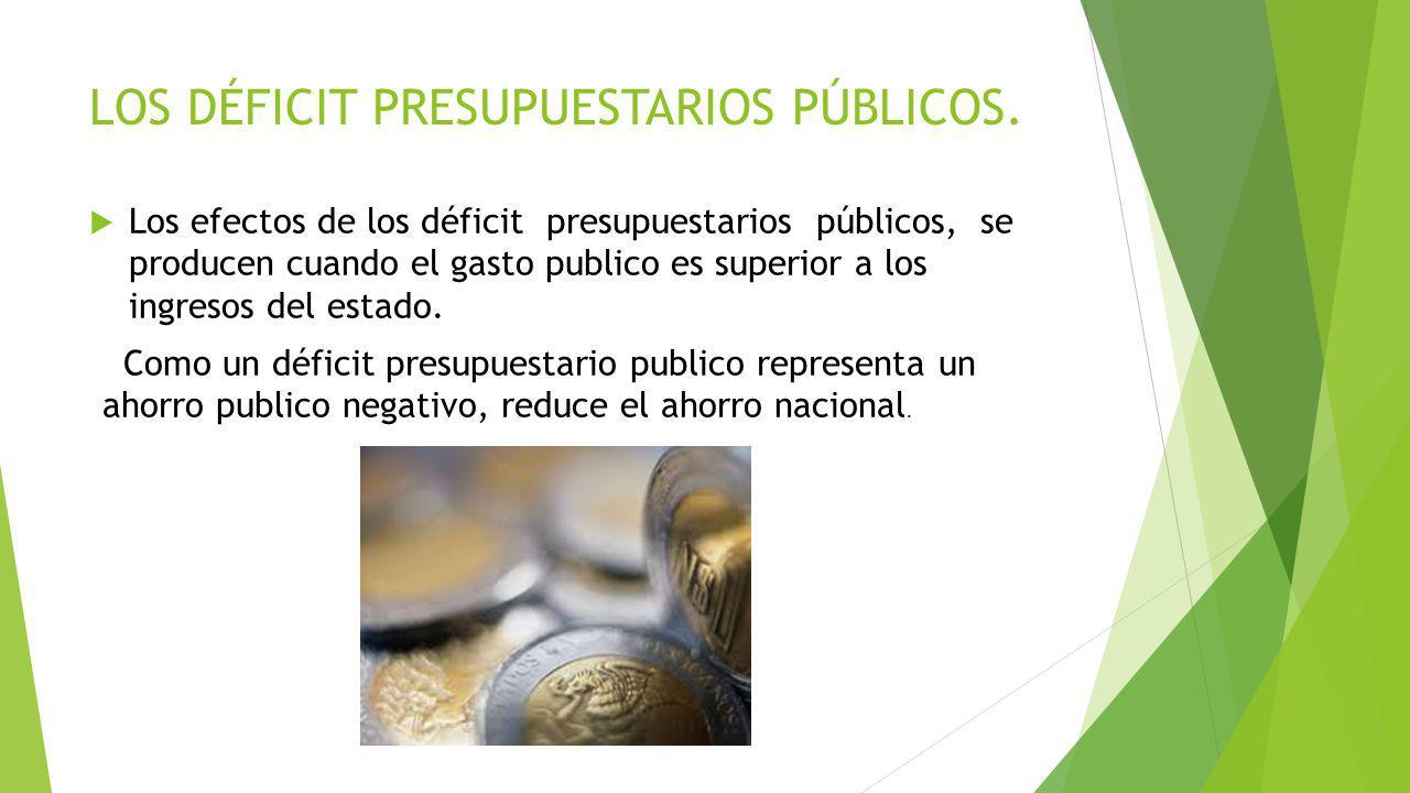 LOS DÉFICIT PRESUPUESTARIOS PÚBLICOS. Los efectos de los déficit presupuestarios públicos, se producen cuando el gasto publico es superior a los ingre