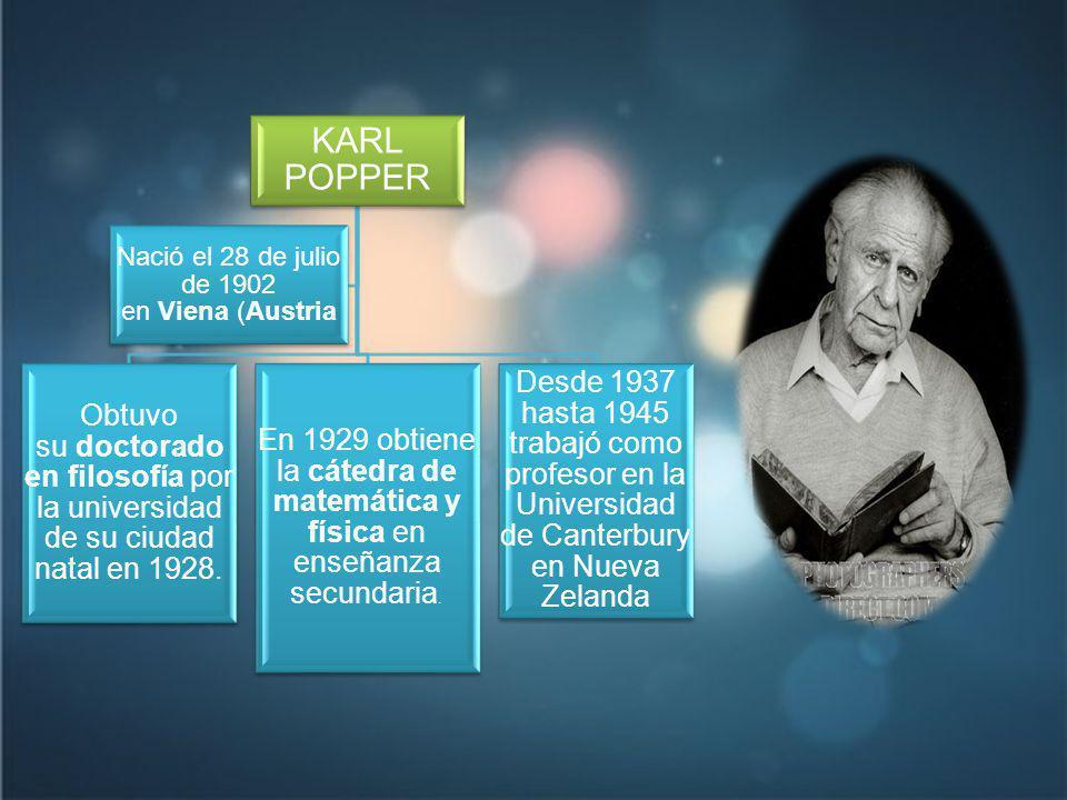 KARL POPPER Obtuvo su doctorado en filosofía por la universidad de su ciudad natal en 1928.