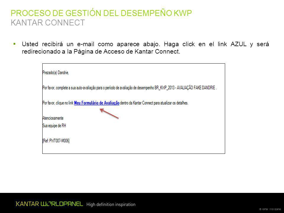 © Kantar Worldpanel PROCESO DE GESTIÓN DEL DESEMPEÑO KWP KANTAR CONNECT Usted recibirá un e-mail como aparece abajo.