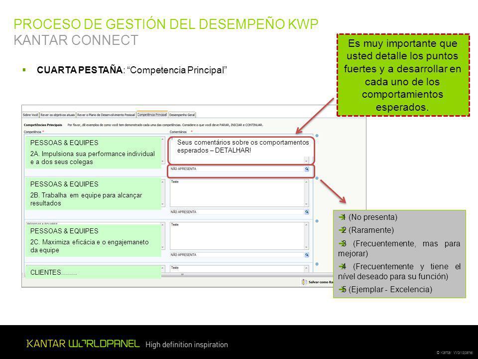 © Kantar Worldpanel PROCESO DE GESTIÓN DEL DESEMPEÑO KWP KANTAR CONNECT CUARTA PESTAÑA: Competencia Principal PESSOAS & EQUIPES 2A.