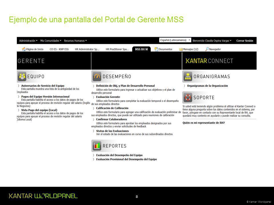 8 © Kantar Worldpanel Ejemplo de una pantalla del Portal de Gerente MSS