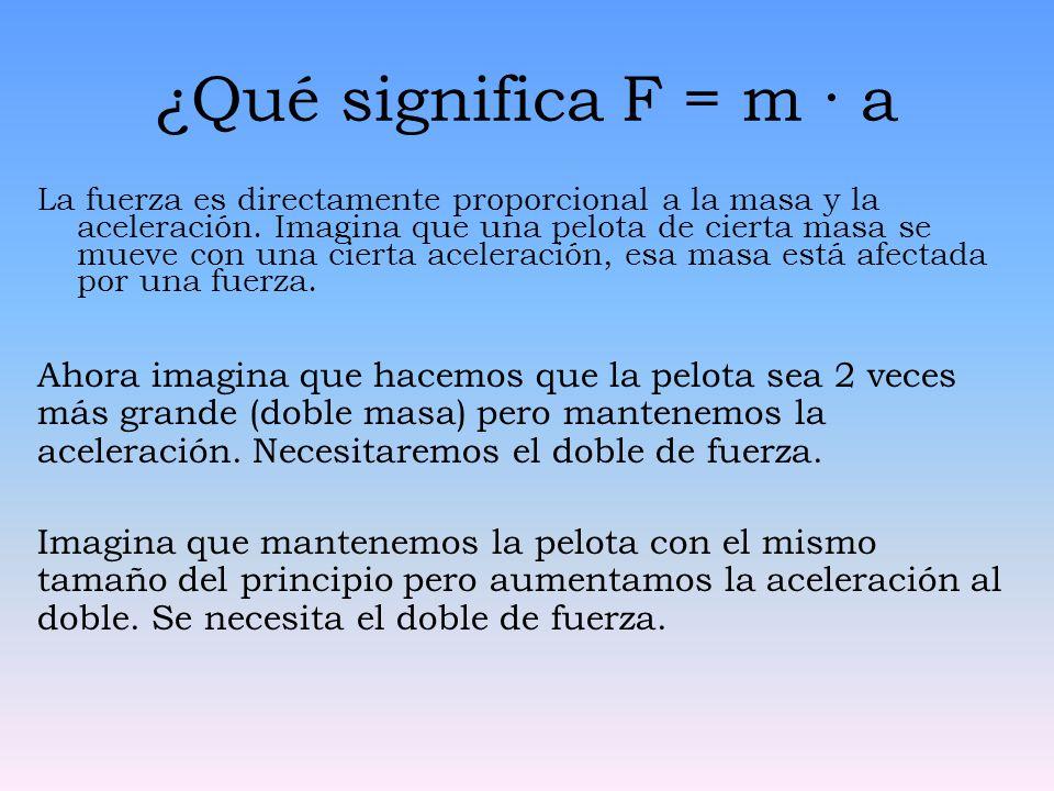 ¿Qué significa F = m · a La fuerza es directamente proporcional a la masa y la aceleración. Imagina que una pelota de cierta masa se mueve con una cie