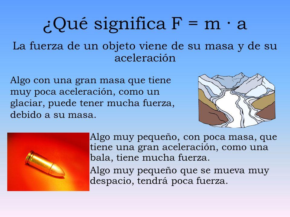 ¿Qué significa F = m · a La fuerza de un objeto viene de su masa y de su aceleración Algo muy pequeño, con poca masa, que tiene una gran aceleración,