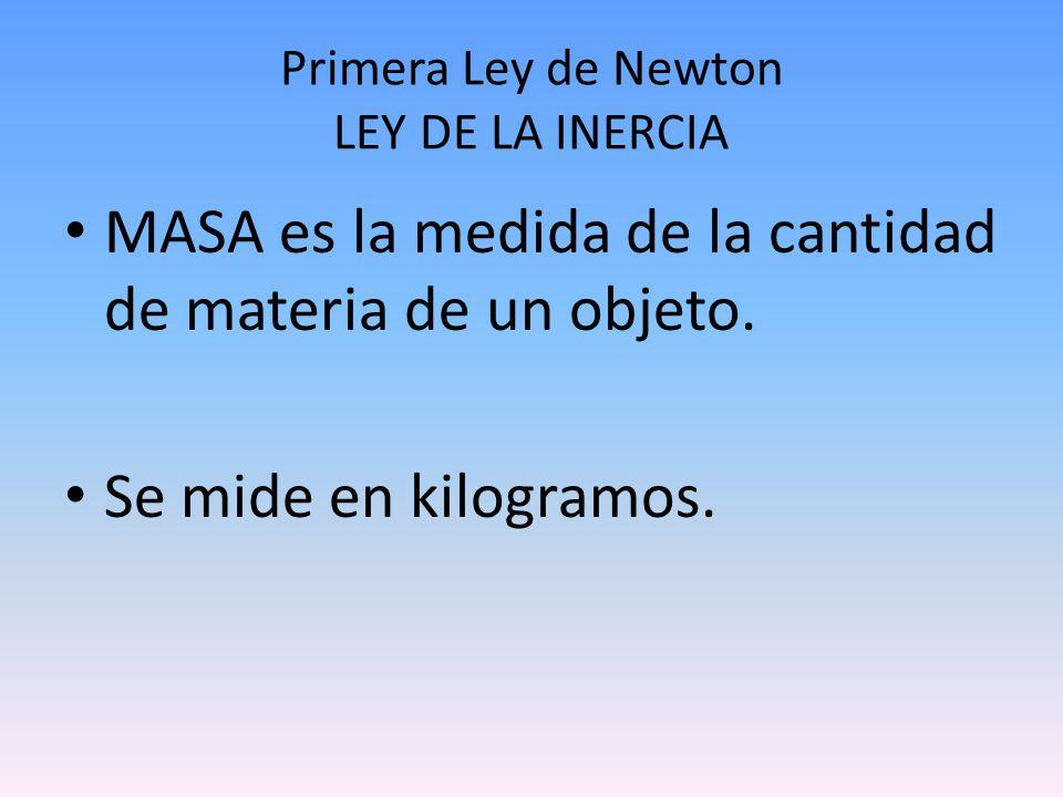 Primera Ley de Newton LEY DE LA INERCIA MASA es la medida de la cantidad de materia de un objeto. Se mide en kilogramos.