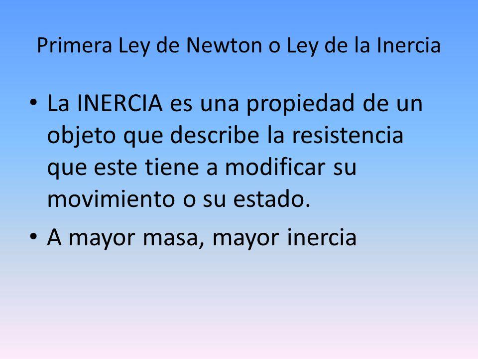 Primera Ley de Newton o Ley de la Inercia La INERCIA es una propiedad de un objeto que describe la resistencia que este tiene a modificar su movimient