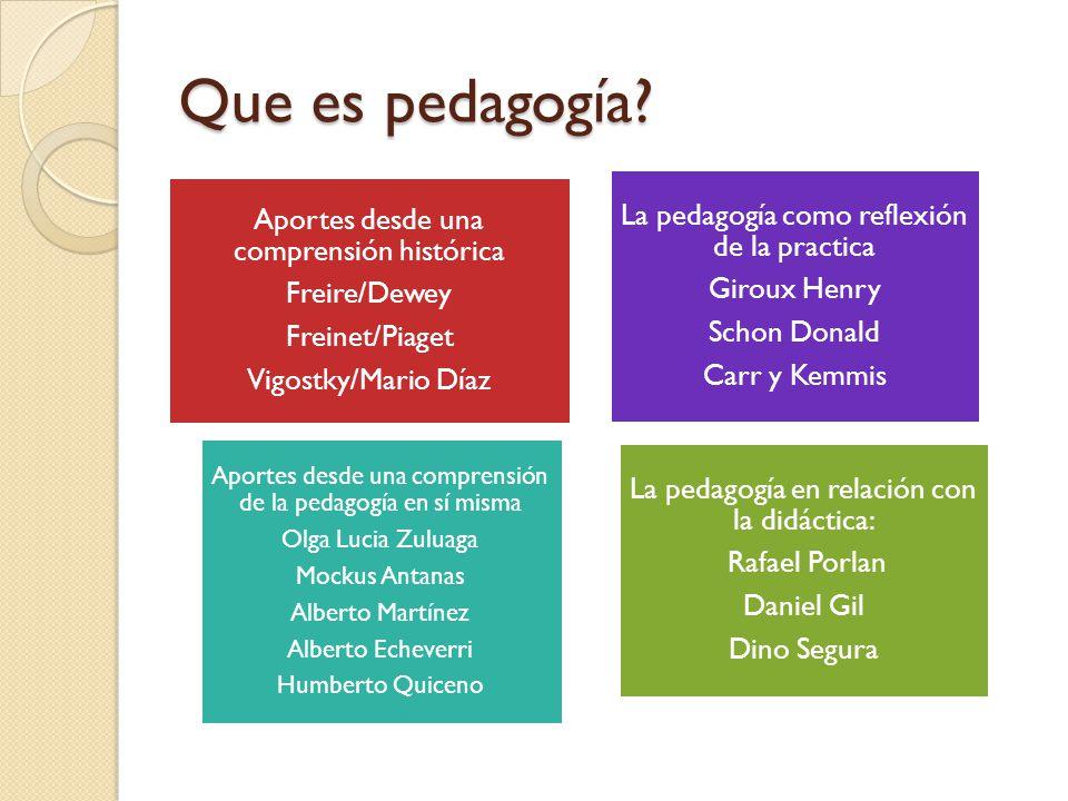 Que es pedagogía? Aportes desde una comprensión histórica Freire/Dewey Freinet/Piaget Vigostky/Mario Díaz La pedagogía como reflexión de la practica G