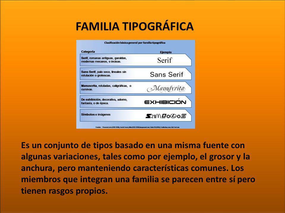 TIPOGRAFÍA Es un conjunto de tipos basado en una misma fuente con algunas variaciones, tales como por ejemplo, el grosor y la anchura, pero manteniend
