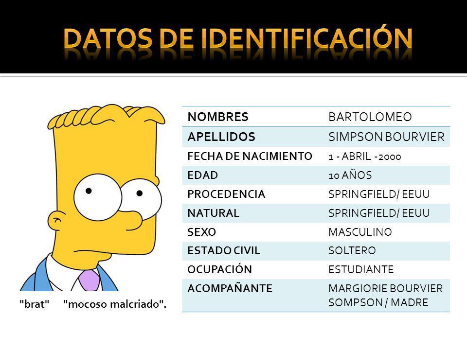 NOMBRESBARTOLOMEO APELLIDOSSIMPSON BOURVIER FECHA DE NACIMIENTO1 - ABRIL -2000 EDAD10 AÑOS PROCEDENCIASPRINGFIELD/ EEUU NATURALSPRINGFIELD/ EEUU SEXOM
