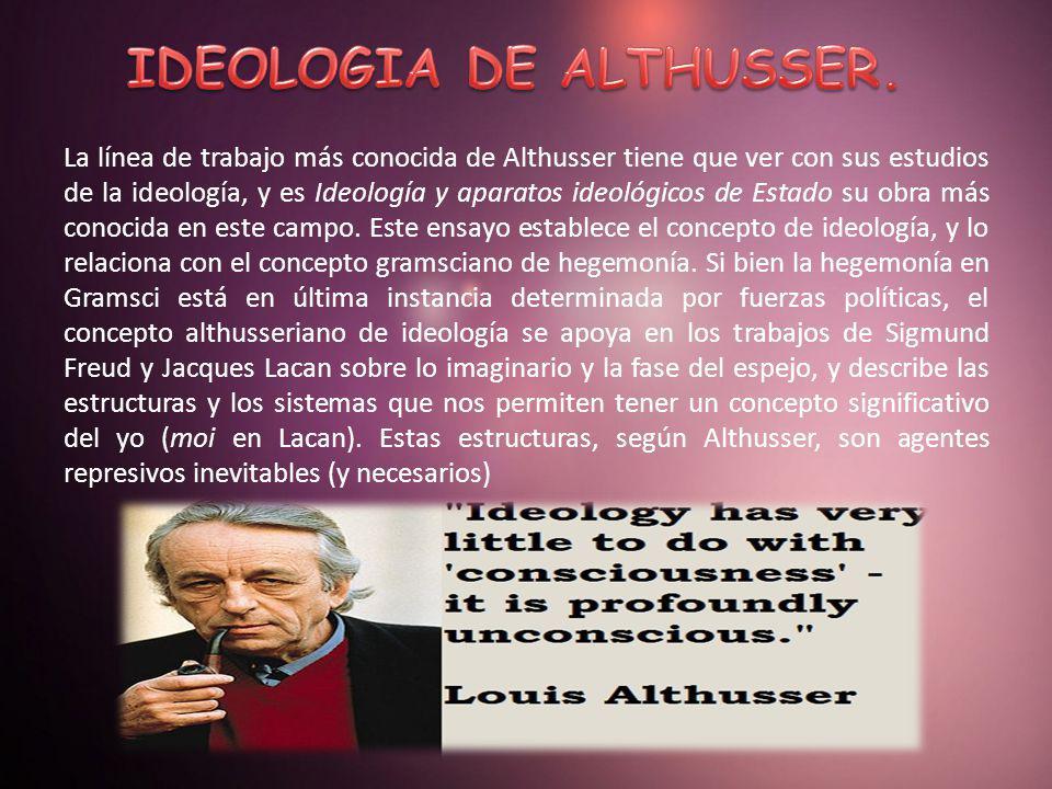 La línea de trabajo más conocida de Althusser tiene que ver con sus estudios de la ideología, y es Ideología y aparatos ideológicos de Estado su obra