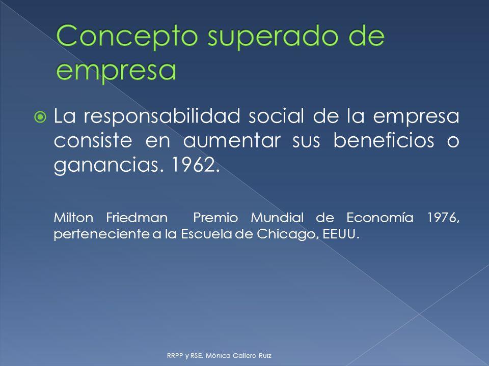 La responsabilidad social de la empresa consiste en aumentar sus beneficios o ganancias. 1962. Milton Friedman Premio Mundial de Economía 1976, perten