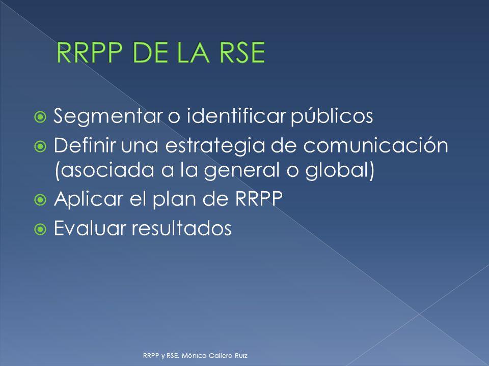 Segmentar o identificar públicos Definir una estrategia de comunicación (asociada a la general o global) Aplicar el plan de RRPP Evaluar resultados RR