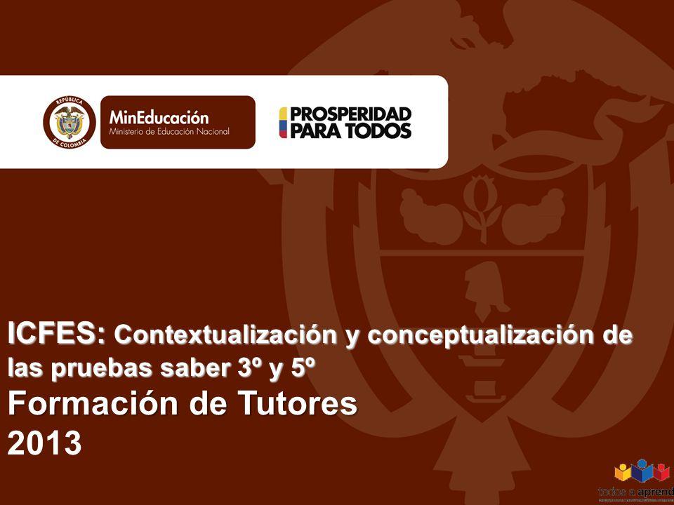 ICFES: Contextualización y conceptualización de las pruebas saber 3º y 5º Formación de Tutores ICFES: Contextualización y conceptualización de las pru