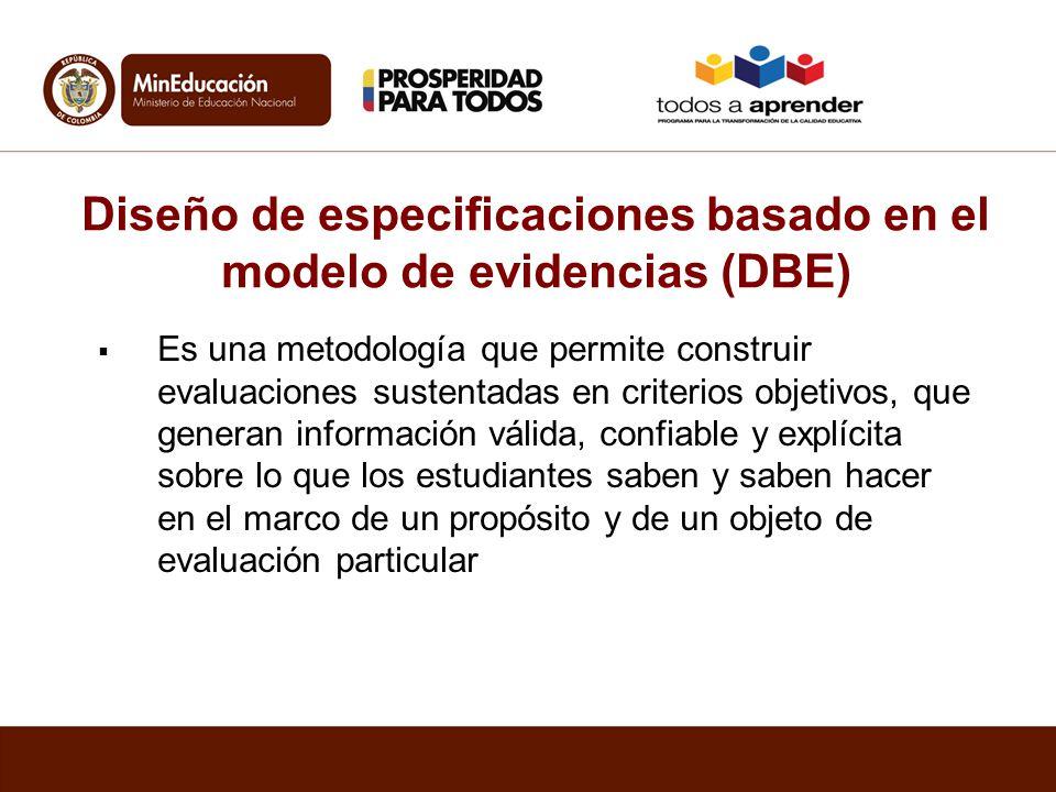 Diseño de especificaciones basado en el modelo de evidencias (DBE) Es una metodología que permite construir evaluaciones sustentadas en criterios obje