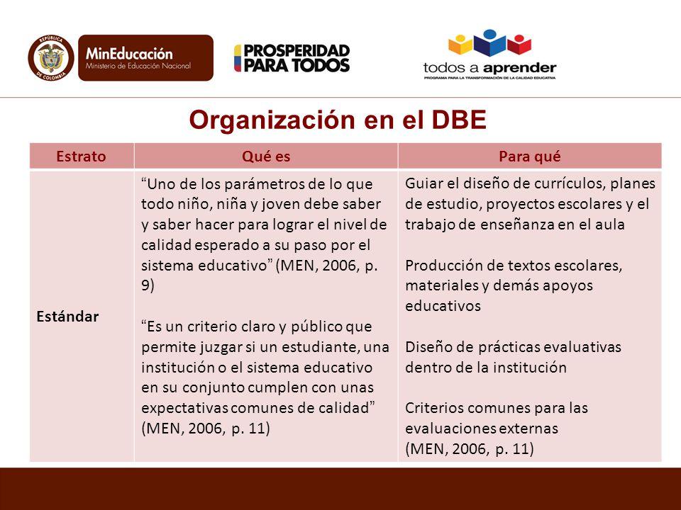 Organización en el DBE EstratoQué esPara qué Estándar Uno de los parámetros de lo que todo niño, niña y joven debe saber y saber hacer para lograr el