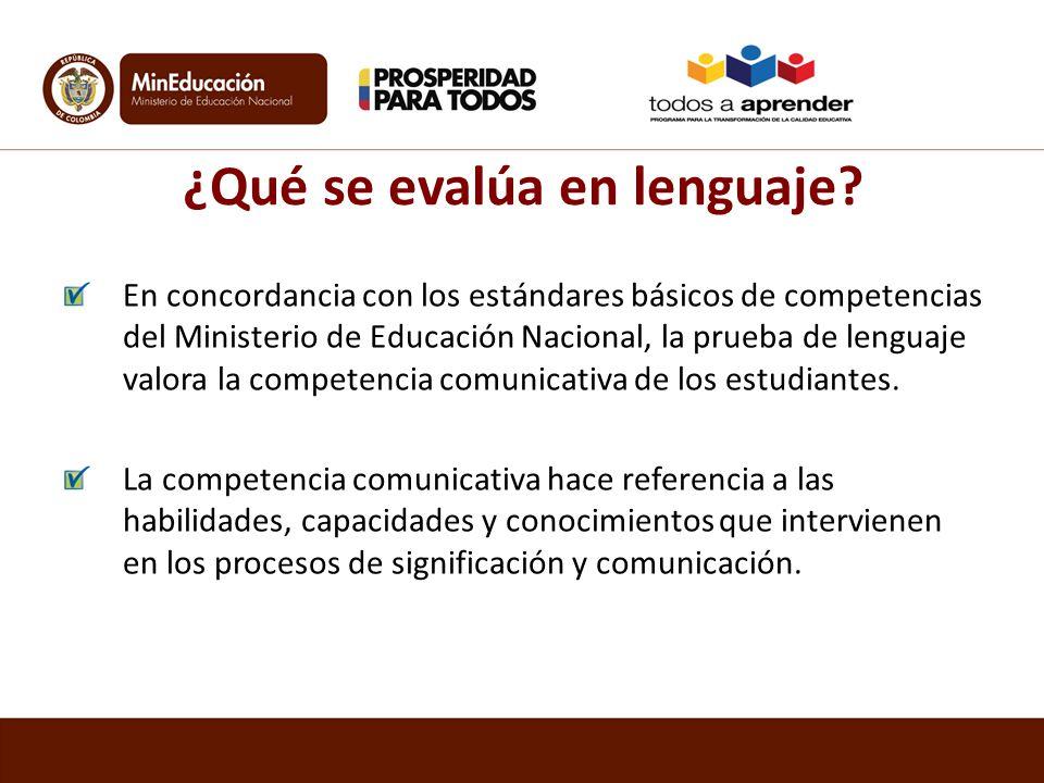 ¿Qué se evalúa en lenguaje? En concordancia con los estándares básicos de competencias del Ministerio de Educación Nacional, la prueba de lenguaje val