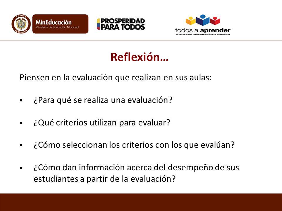 Reflexión… Piensen en la evaluación que realizan en sus aulas: ¿Para qué se realiza una evaluación? ¿Qué criterios utilizan para evaluar? ¿Cómo selecc