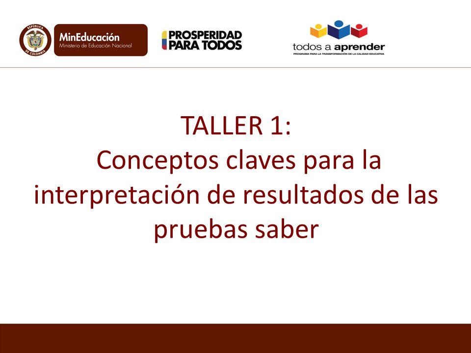 TALLER 1: Conceptos claves para la interpretación de resultados de las pruebas saber