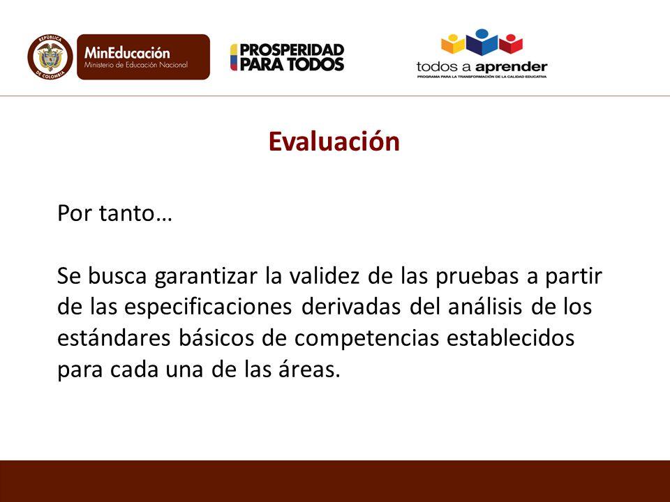 Por tanto… Se busca garantizar la validez de las pruebas a partir de las especificaciones derivadas del análisis de los estándares básicos de competen