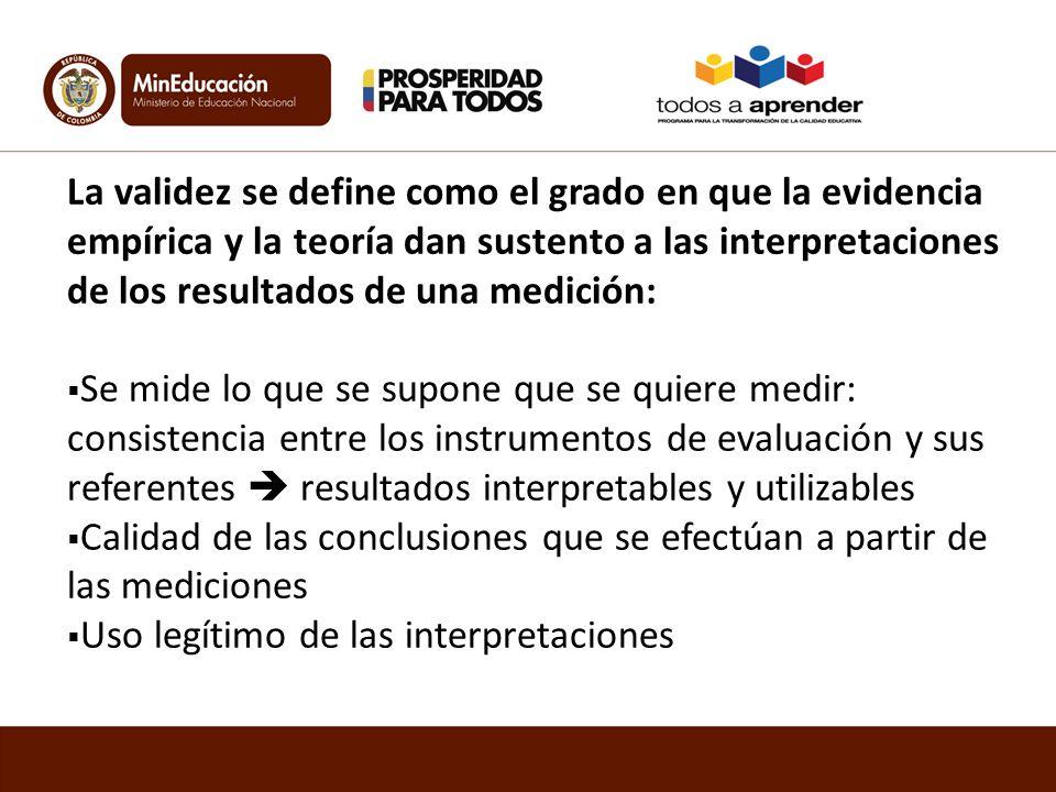 La validez se define como el grado en que la evidencia empírica y la teoría dan sustento a las interpretaciones de los resultados de una medición: Se