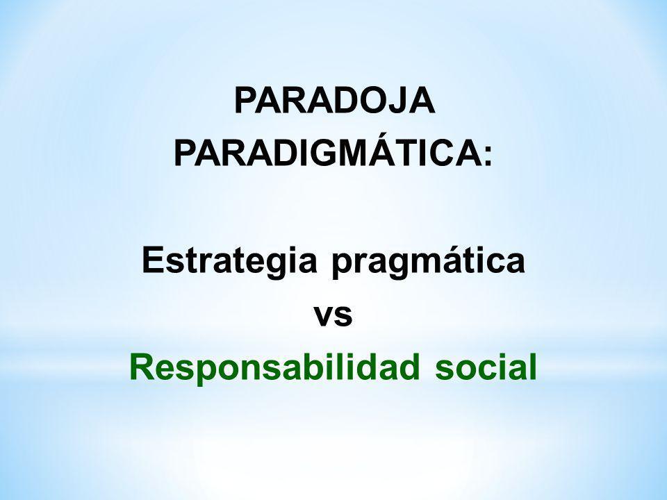 PARADOJA PARADIGMÁTICA: Estrategia pragmática vs Responsabilidad social