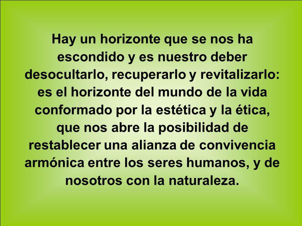Hay un horizonte que se nos ha escondido y es nuestro deber desocultarlo, recuperarlo y revitalizarlo: es el horizonte del mundo de la vida conformado