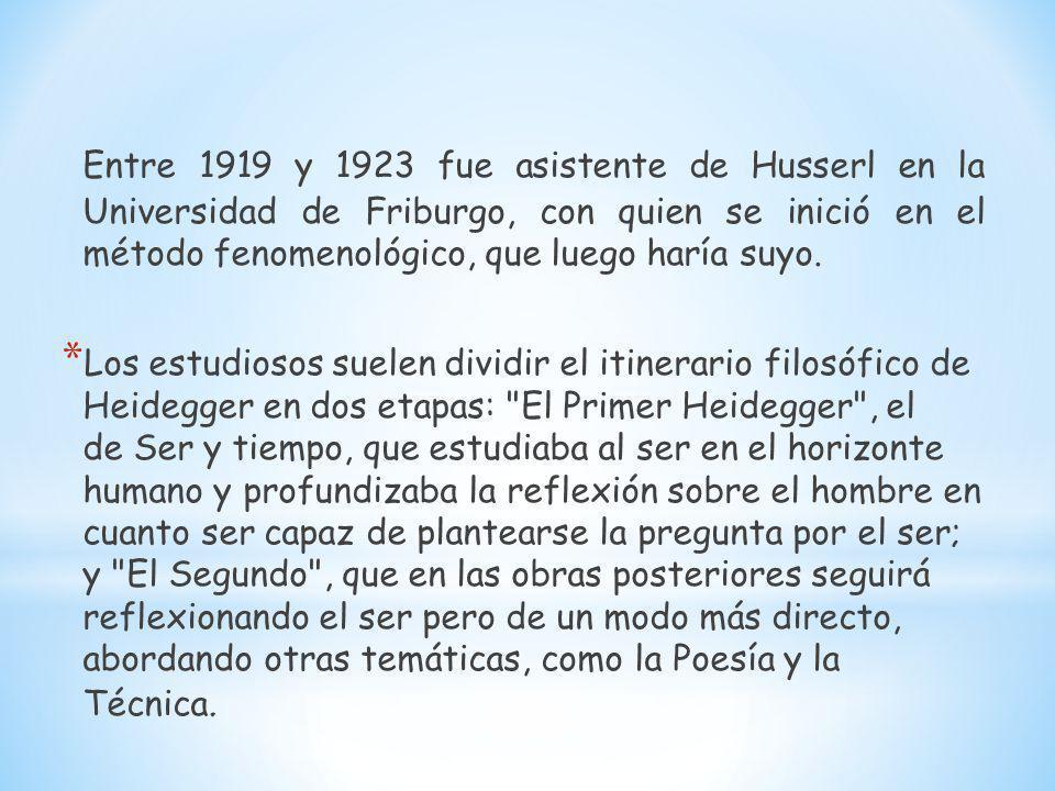 Entre 1919 y 1923 fue asistente de Husserl en la Universidad de Friburgo, con quien se inició en el método fenomenológico, que luego haría suyo. * Los