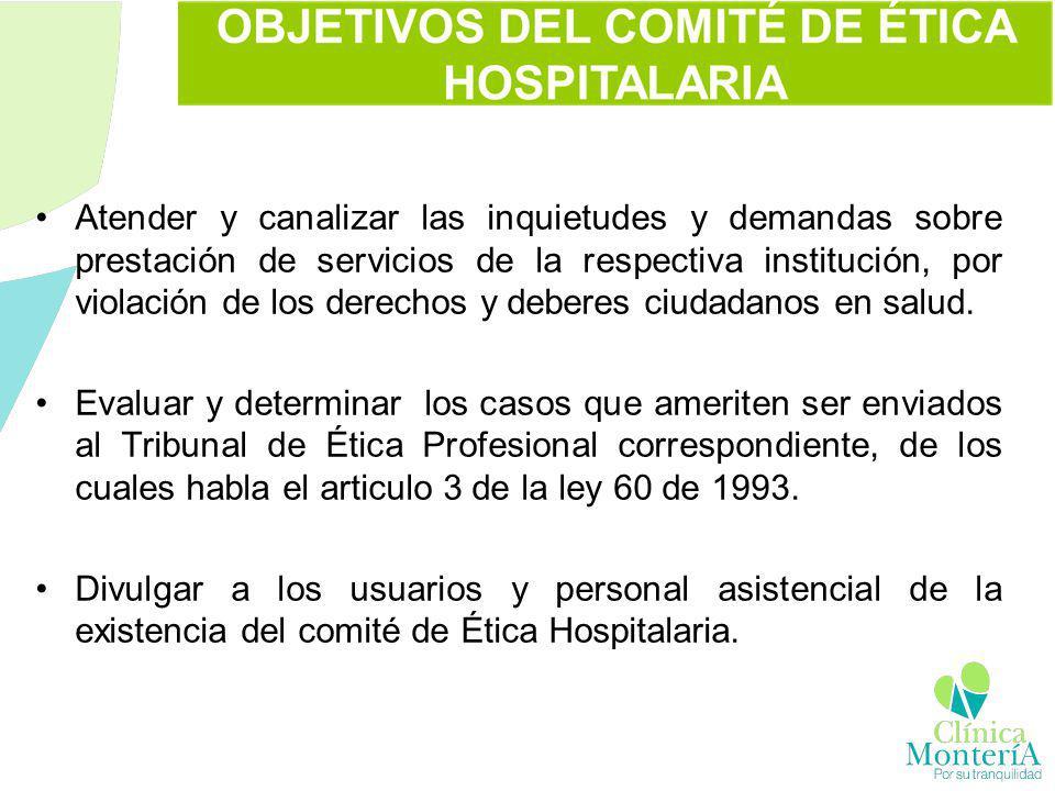 Atender y canalizar las inquietudes y demandas sobre prestación de servicios de la respectiva institución, por violación de los derechos y deberes ciu
