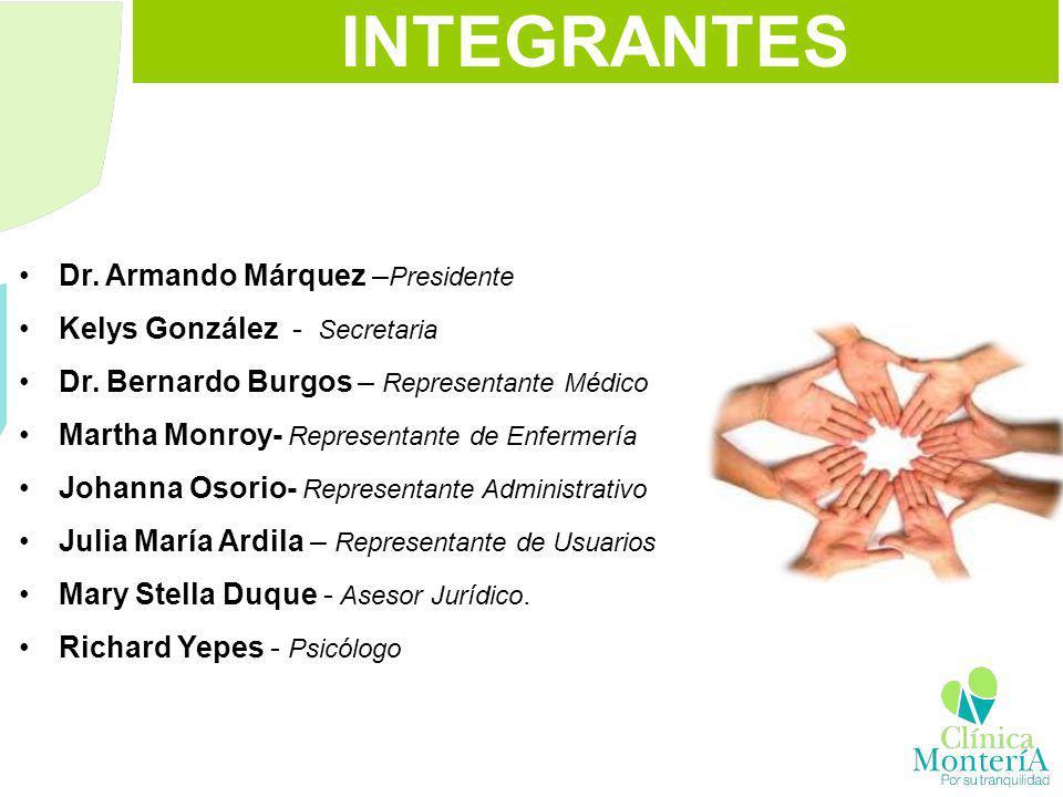 INTEGRANTES Dr. Armando Márquez – Presidente Kelys González - Secretaria Dr. Bernardo Burgos – Representante Médico Martha Monroy- Representante de En