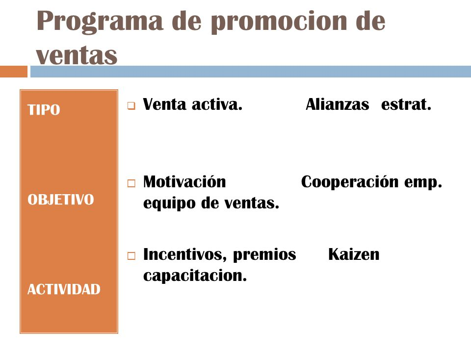 Programa de promocion de ventas TIPO OBJETIVO ACTIVIDAD Venta activa.