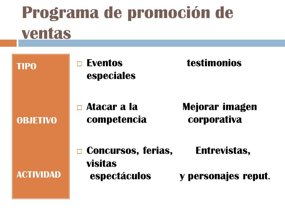 Programa de promoción de ventas TIPO OBJETIVO ACTIVIDAD Eventos testimonios especiales Atacar a la Mejorar imagen competencia corporativa Concursos, ferias, Entrevistas, visitas espectáculos y personajes reput.