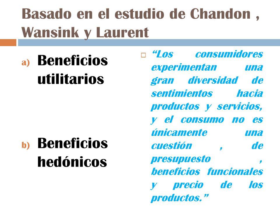 Basado en el estudio de Chandon, Wansink y Laurent a) Beneficios utilitarios b) Beneficios hedónicos Los consumidores experimentan una gran diversidad de sentimientos hacia productos y servicios, y el consumo no es únicamente una cuestión, de presupuesto, beneficios funcionales y precio de los productos.